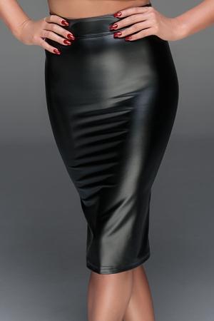 Jupe crayon simili cuir wetlook f152 noir handmade