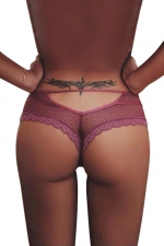 Tanga bordeaux dentelle - Paris Hollywood