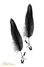 Pinces à seins plume noire - Sweet Caress