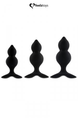 Coffret 3 plugs anal Bibi Twin - noir