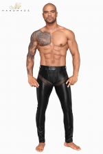 Pantalon wetlook et filet H059